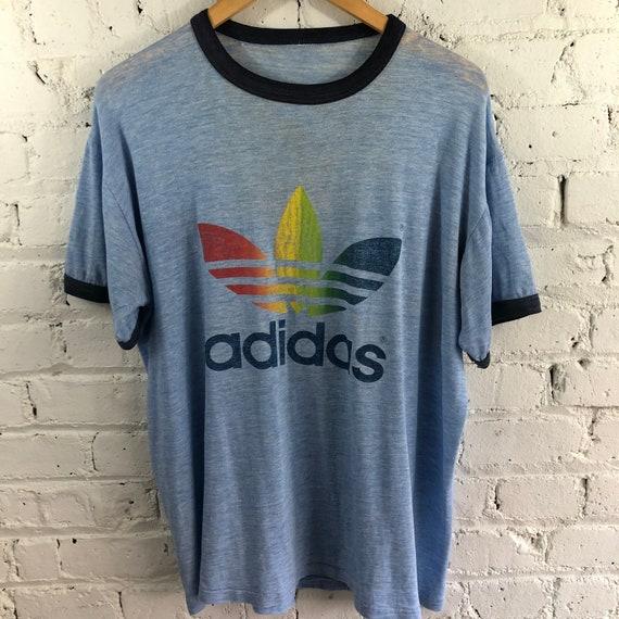 Vintage 70s Adidas Rainbow Trefoil Ringer T-shirt