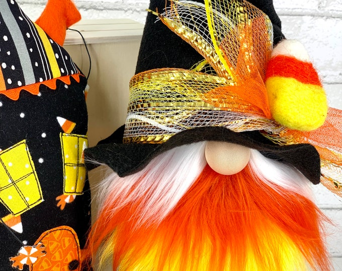Featured listing image: Witch gnome    candy corn decor   Halloween gnomes   Halloween tiered tray   Halloween decorations   Witch hats