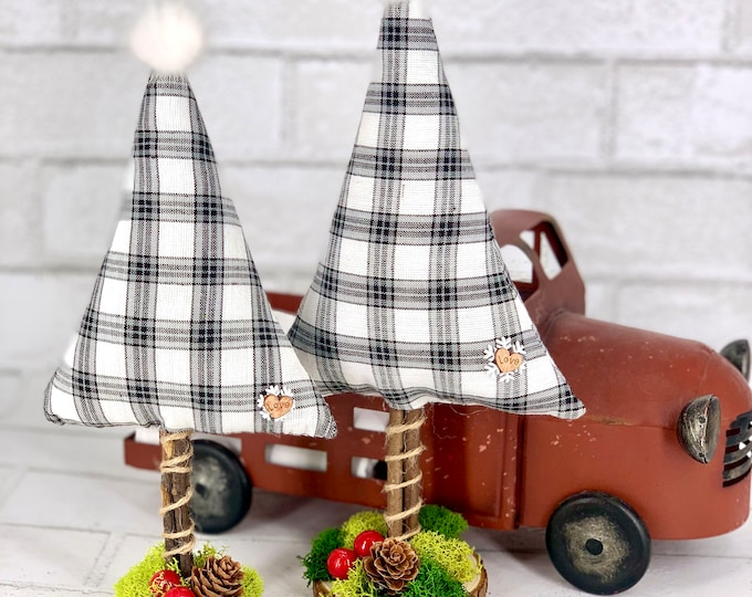 Featured listing image: Plaid Flannel stuffed Christmas Tree   Farmhouse Tabletop tree   Stuffed Holiday decor tree   Sold separately