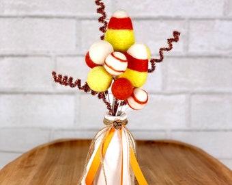 Candy Corn Pom Pom bouquet | Candy Corn decor  | fall farmhouse decor | Fall felt ball bouquet for tiered tray | Halloween decor