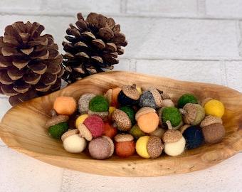 Fall felt ball acorns | Tiered tray acorn decor | fall farmhouse decor | fall acorn home decor |