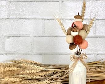 Fall felt ball acorns | acorn bouquet for tiered trays | fall farmhouse decor | autumn table decor