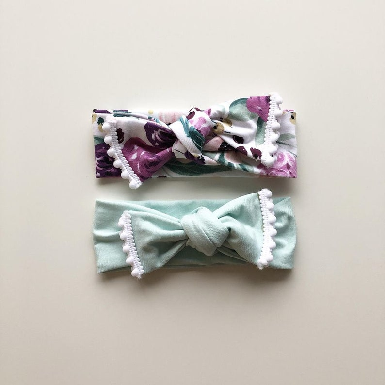 Mint and Floral Headwrap duo