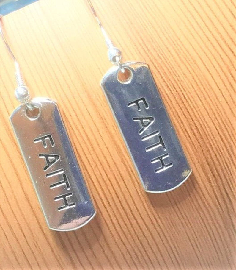 Inspirational Message Earrings Silver Tone Choose Your Words Faith Motivational