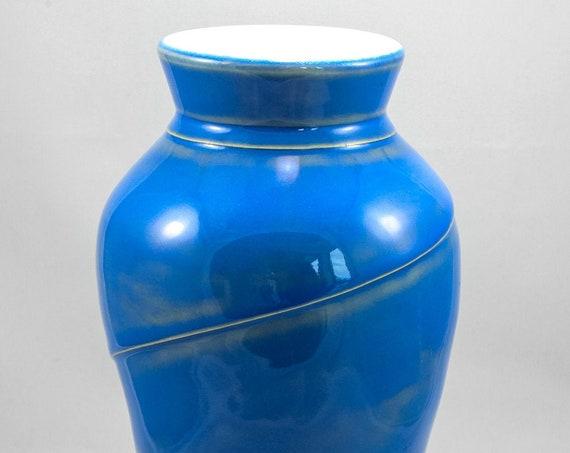 Unique Spiral Blue Raised Sculpted Vase