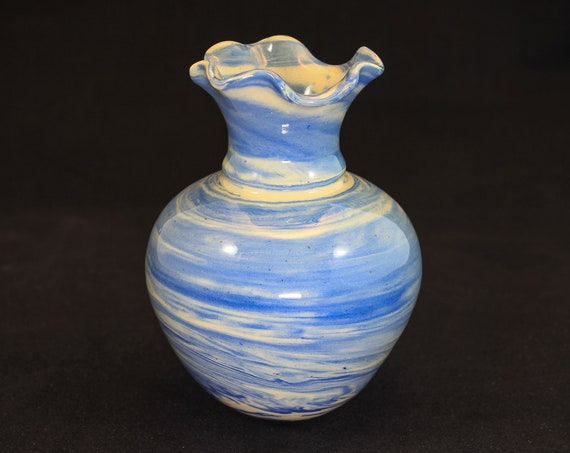 Blue Marble Vase Fluted Top