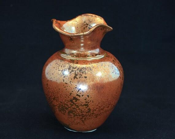 Antique Copper Fluted Top Vase