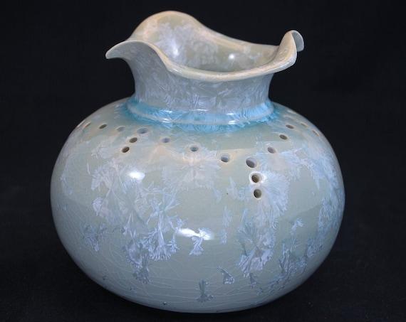 Soft Green Crystalline Vase - I - Embellished
