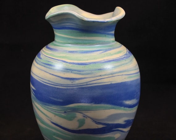 Large Classic Fluted Blue & Green Marble Vase