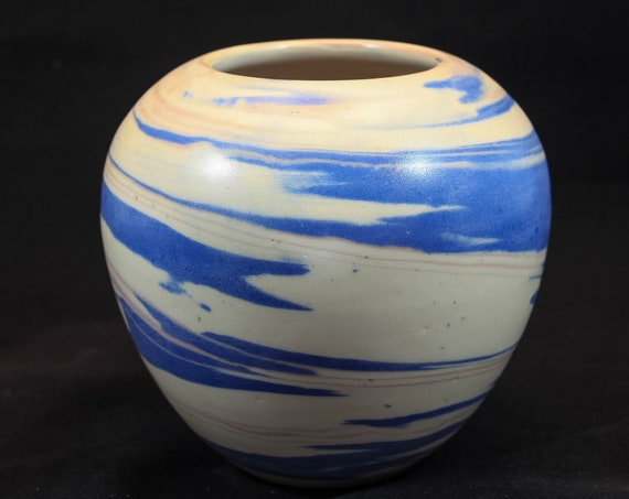 Large Round Blue - White & Pink Marble Vase
