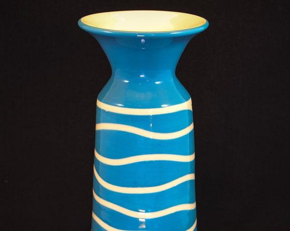 Teal and White Modern Vase