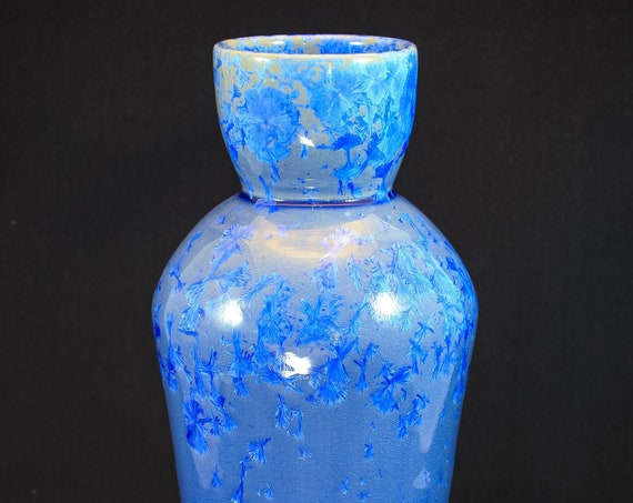 Tall Contemporary Crystalline Deep Blue Vase