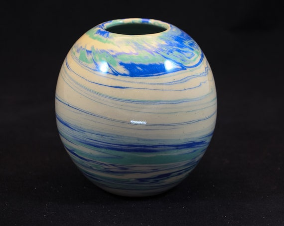 Blue & Green Marble Modern Vase