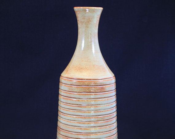 Large Tan and Rust Bottle Vase