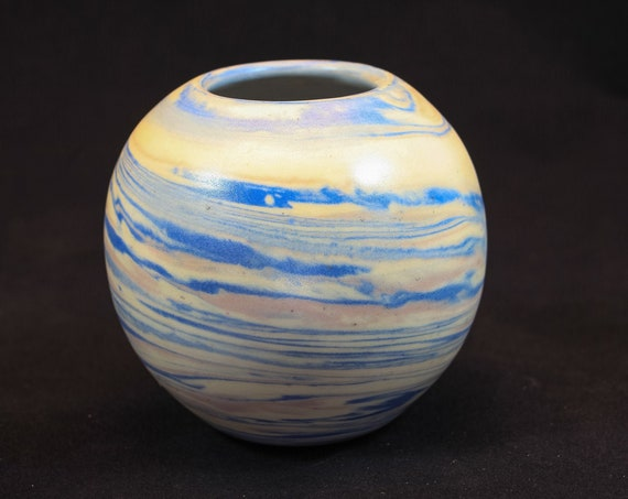 Blue & Pink Marble Round Vase
