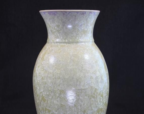 Creamy White on Beige Crystalline Vase