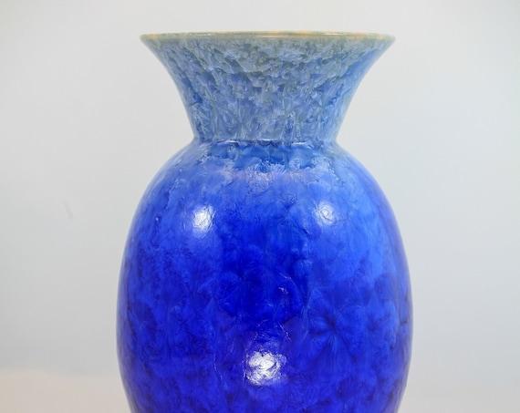 Large Flange - Blue Crystalline Vase