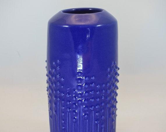 Blue Cylindar Vase - Embellished