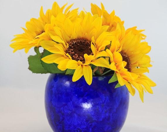 Fun Round Dark Blue Crystalline Vase