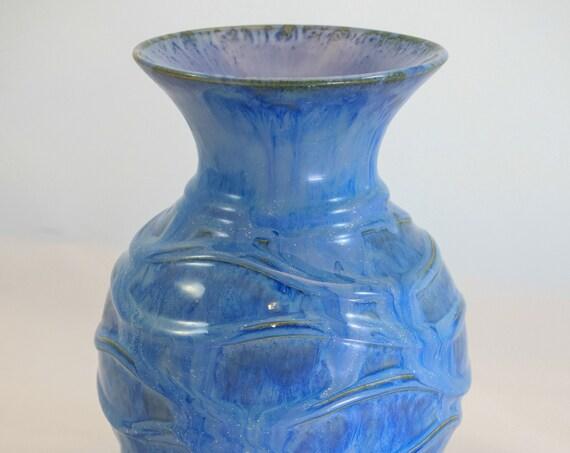 Round Blue Drip Raised Rib Vase