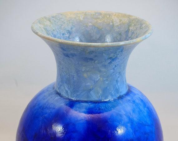 Large Two-Toned Cobalt|Light Blue Crystalline Vase