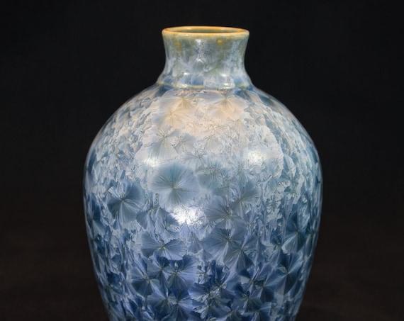 """Steel """"Ice Blue"""" Crystalline Vase - III"""