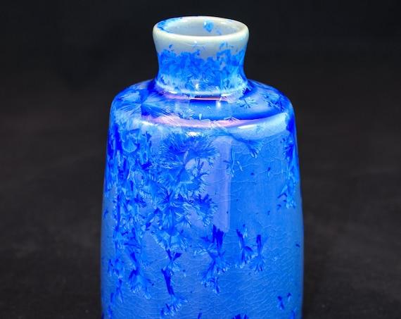 Crystal Blue Crystalline Bud Vase