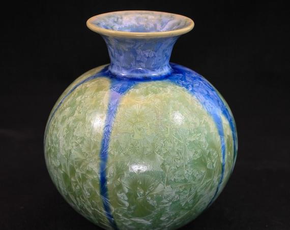 Unique Crystalline Light Green with Blue Stripes Vase