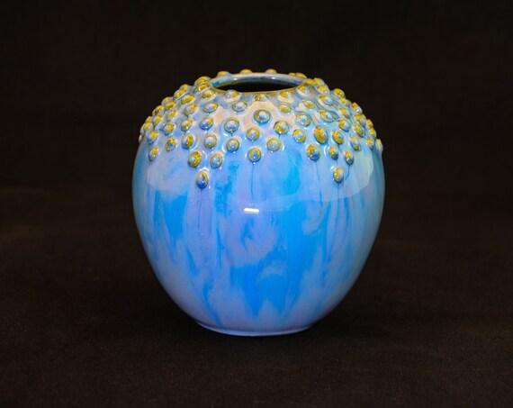 Round Topless Blue Embellished Vase