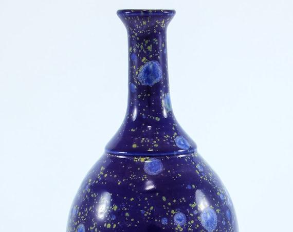 Crystal Blue Sculpted Bottle Vase