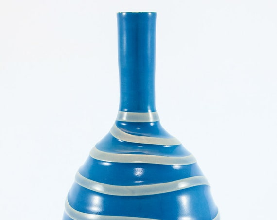 Island Blue on Gray Bottle Vase #1
