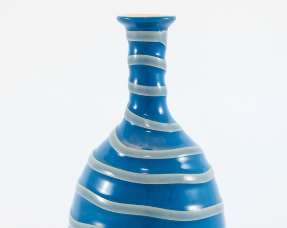 Island Blue on Gray Bottle Vase #3