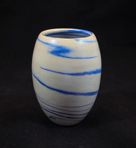 Blue & White Contemporary Marble Vase