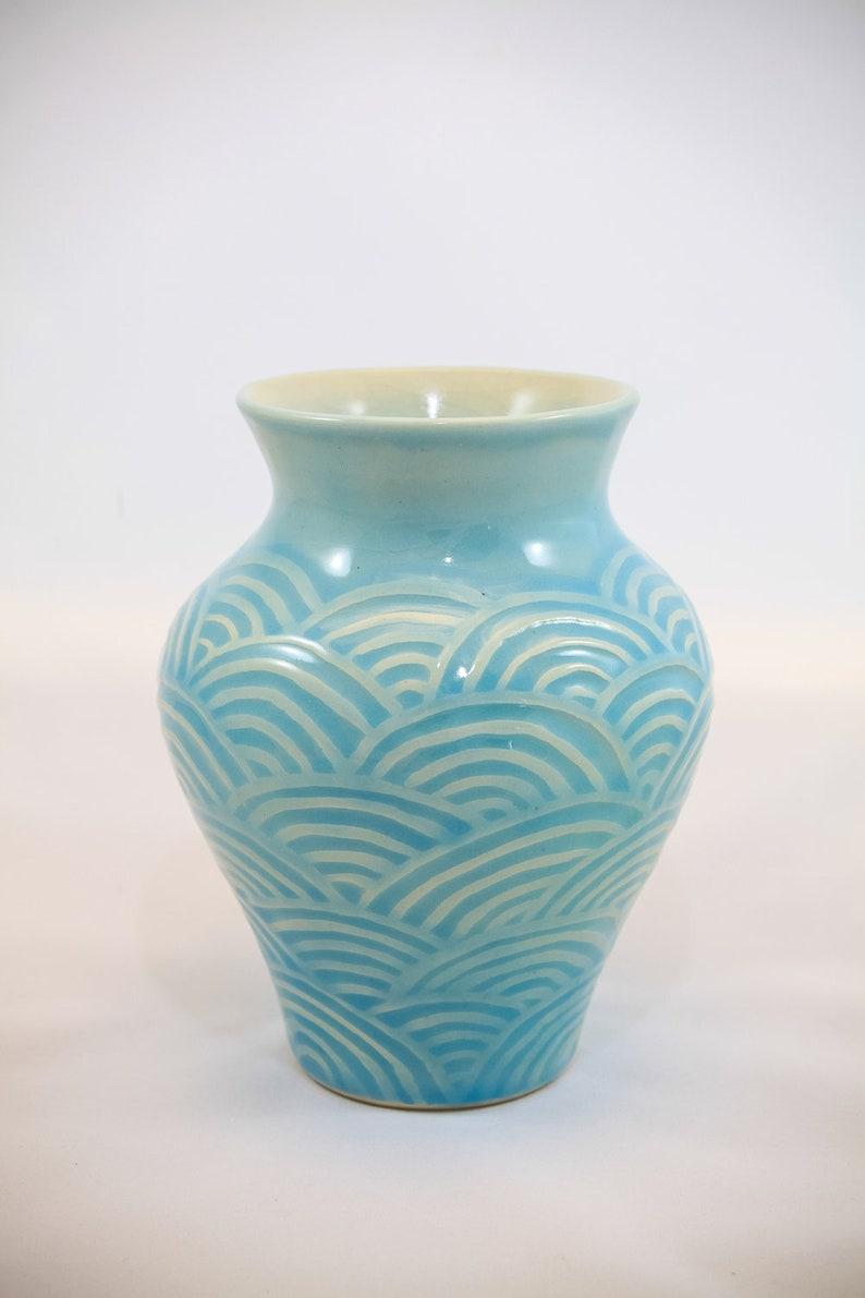 Green Sculpted Wave Vase