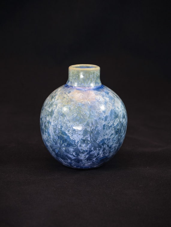"""Steel """"Ice Blue"""" Crystalline Vase - I"""