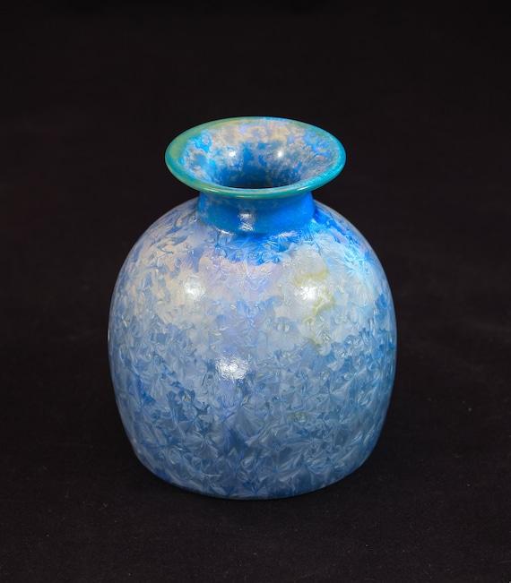 Stocky Light Blue Crystalline Vase