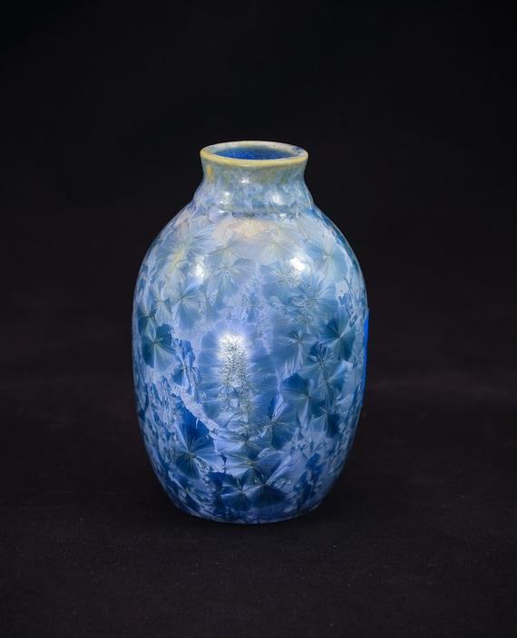 """Steel """"Ice Blue"""" Crystalline Vase - IV"""