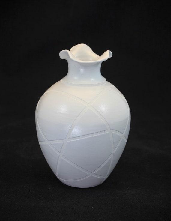 Contemporary White on White Striped Vase
