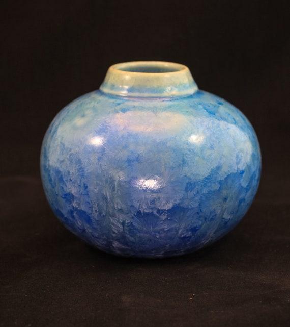 Round Soft Blue Crystalline Vase