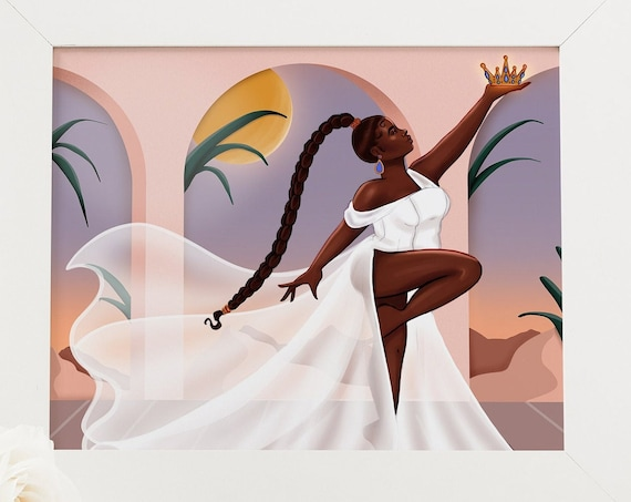 Queen Energy Unleashed - African American Fashion Illustration Art Print
