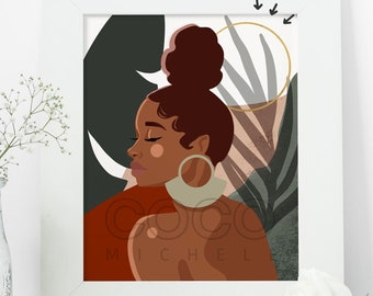 Solitude African American Art Print with Gold Foil Detail