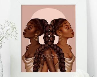 The Twins - African American Fashion Illustration Art Print