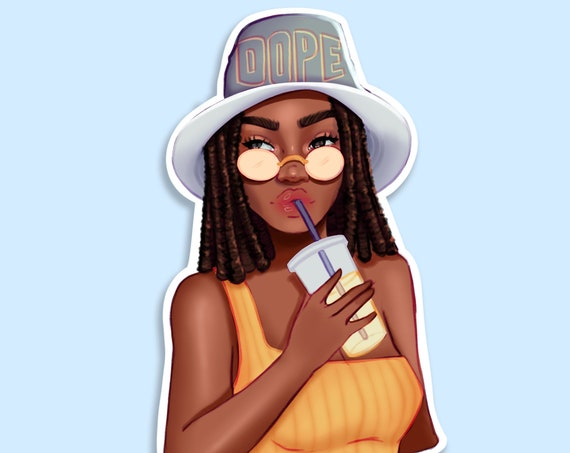 Summer Sippin Die Cut Sticker - African American Planner Girl | Coco Michele