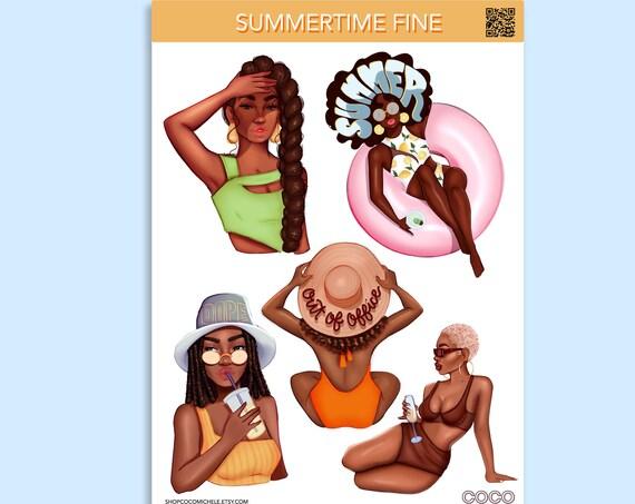 Summertime Fine Sticker Sheet - African American Planner Girl | Coco Michele