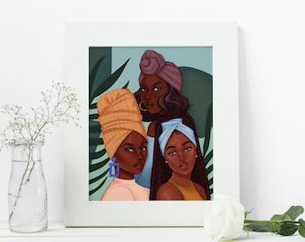 Sister Circle - African American Fashion Illustration Art Print