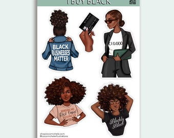 I Buy Black Sticker Sheet - African American Planner Girl   Coco Michele