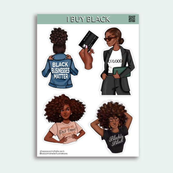 I Buy Black Sticker Sheet - African American Planner Girl | Coco Michele