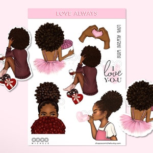 Coco Michele African American Planner Girl Self Care Sticker Sheet