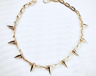 Spike Necklace Wrap Necklace Needle Necklace Up to 38 in Sterling Silver or 14k Gold Fill Long Chain Necklace