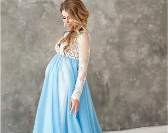09f2874ca383e baby blue Maternity dress photoshoot baby bump dress blue tulle dress  pregnancy dress maternity outfits photography maternity white lace